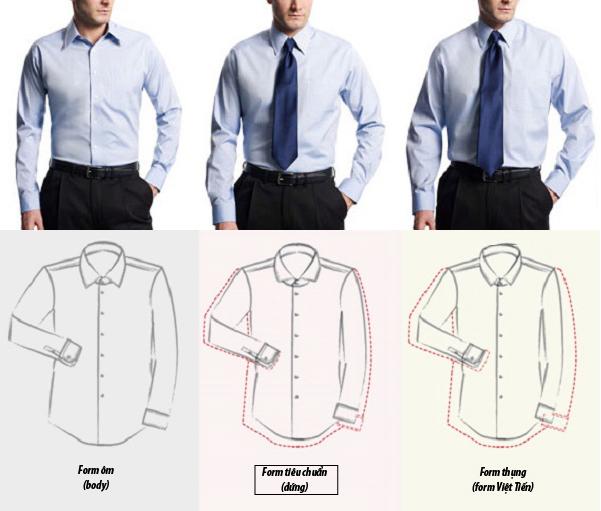 3 loại form size áo sơ mi
