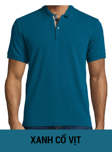 áo thun đồng phục màu xanh cổ vịt