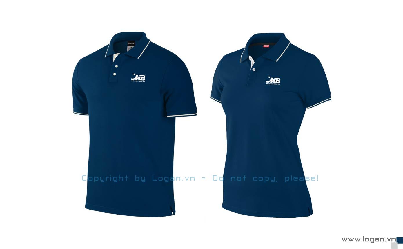 áo thun đồng phục có cổ MB Bank xanh đen