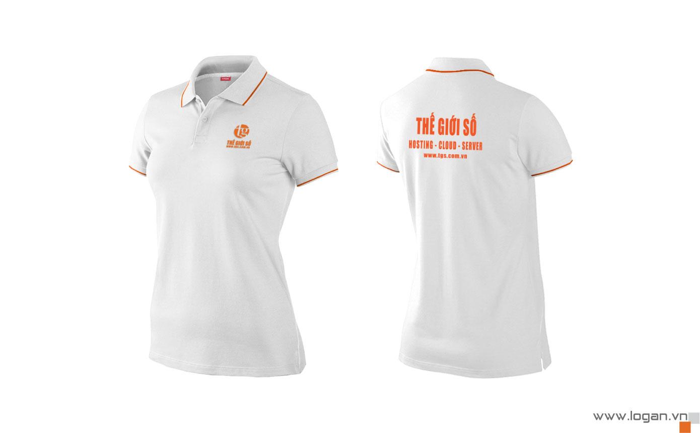 áo thun đồng phục có cổ trắng cam