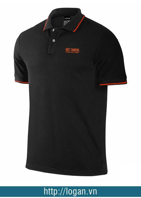 mẫu áo thun đồng phục đen viền cam