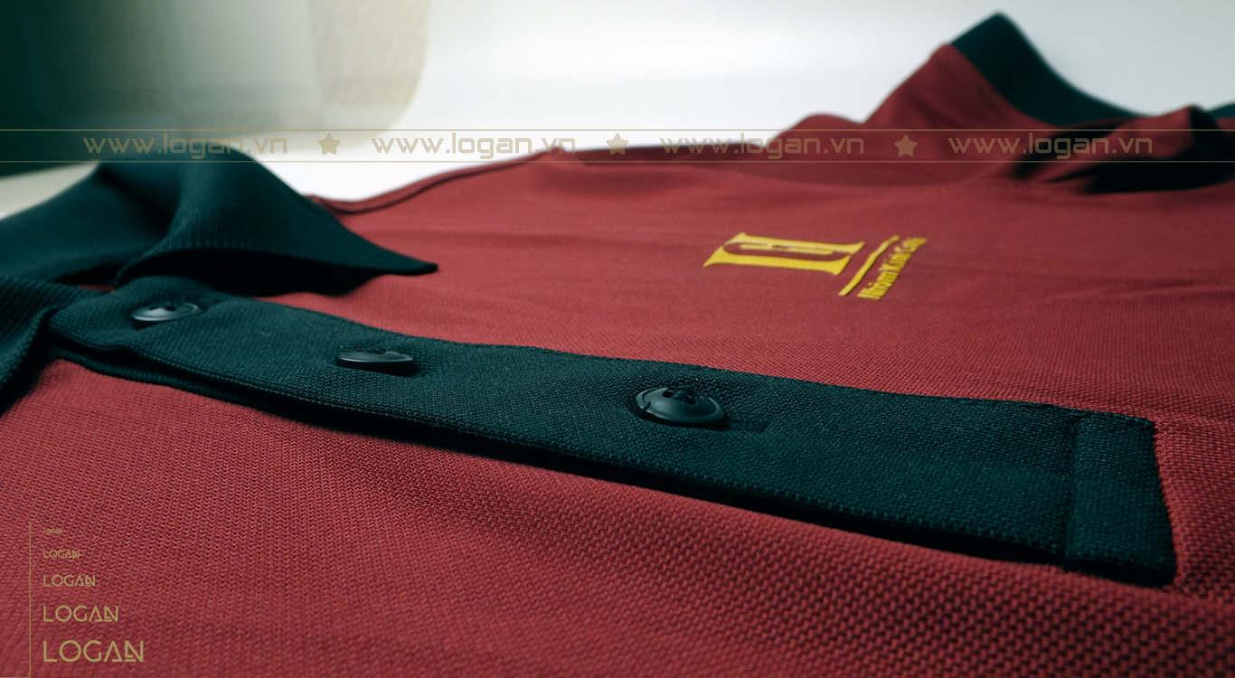 áo thun đồng phục đỏ đô phối đen