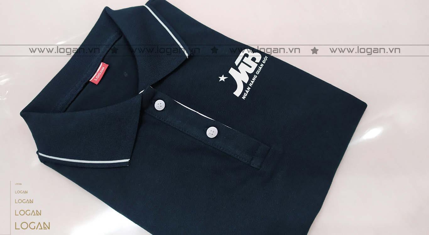 áo thun đồng phục xanh đen viền trắng