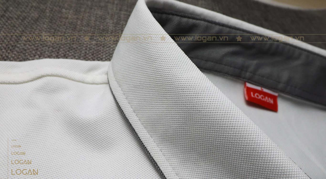 áo thun cổ sơ mi trắng xám