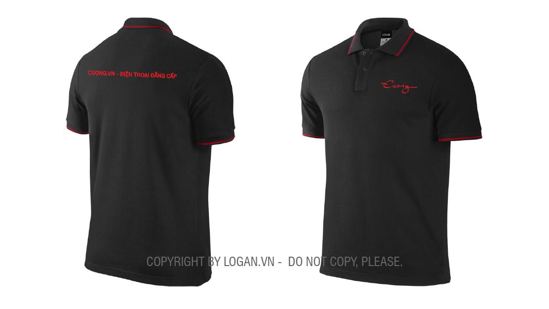 áo thun đồng phục đen sọc đỏ