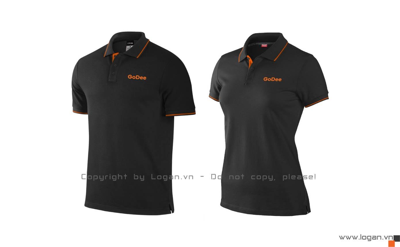 áo thun đồng phục đen viền cam