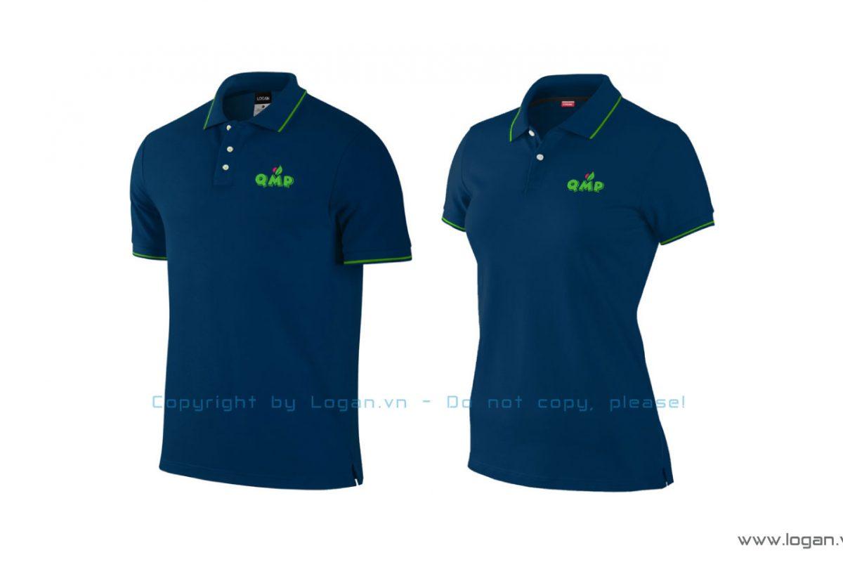 áo thun đồng phục xanh đen sọc xanh lá
