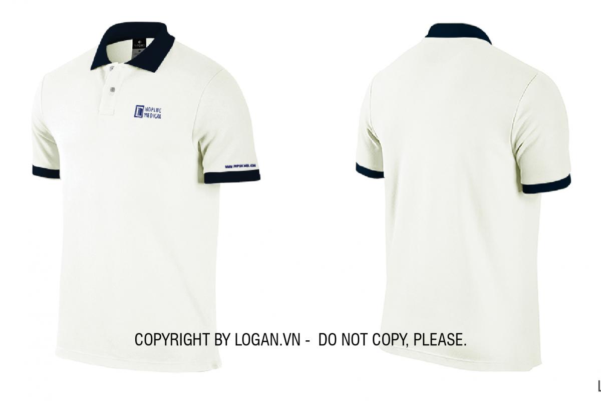 áo thun đồng phục trắng cổ xanh